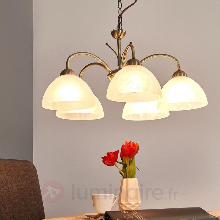Suspension MILANESE 5 lampes coloris laiton ancien sicher & bequem online bestellen bei Lampenwelt.de.