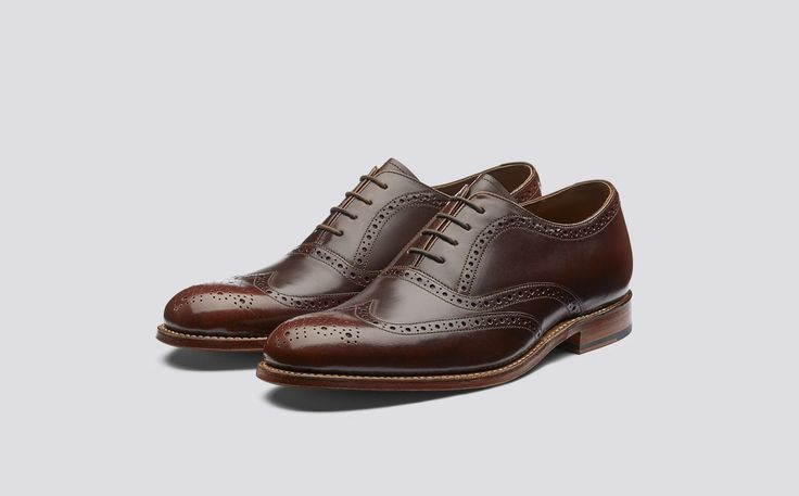 Luther | Mens Brogue in Honey Hi Shine Leather with a Leather Sole | Grenson Shoes - Three Quarter View