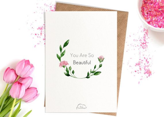 Printed Watercolor cards Flower Flora You Are So от WhiteWildRose