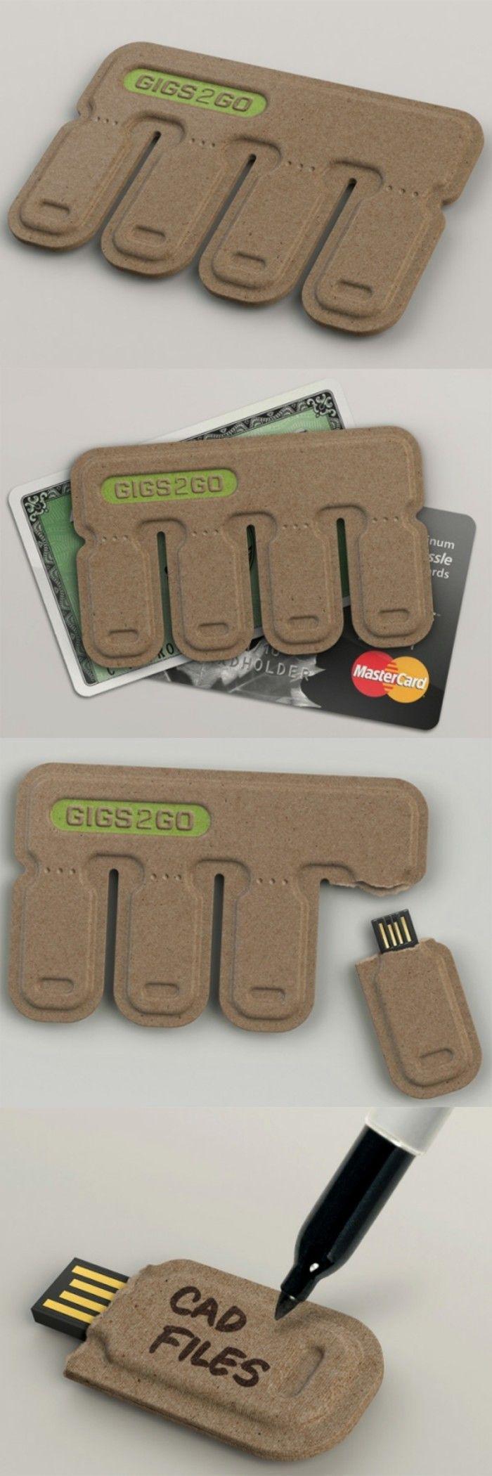 来自BOLT集团的产品设计师Kurt Rampton设计了一款名为「GIGS.2.GO」的手撕U盘,包装为四个U盘一组,大小只有信用卡那么大。 这款手撕U盘外壳采用100%可回收的纸浆做成,可降解,质轻,价廉。使用时只需撕下一块,然后就可以插到电脑上使用,你还可以把备注信息写在U盘的包装纸上。更多:http://www.shejipi.com/
