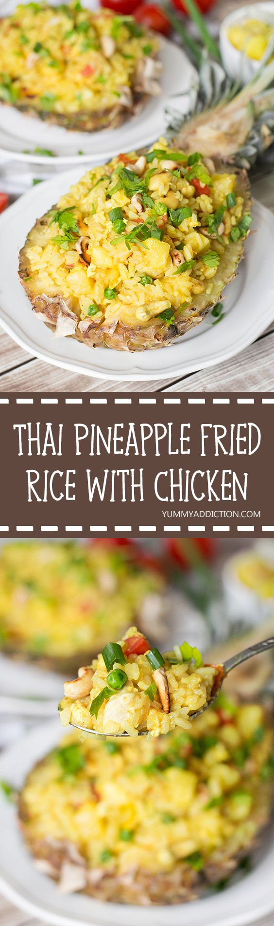 This Thai Pineapple Fried Rice with chicken makes a perfect weeknight dinner…