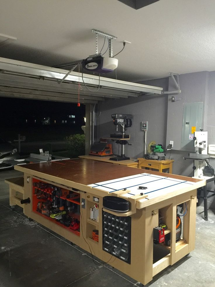 633 best images about woodshop on pinterest workbenches for Custom garage workshop
