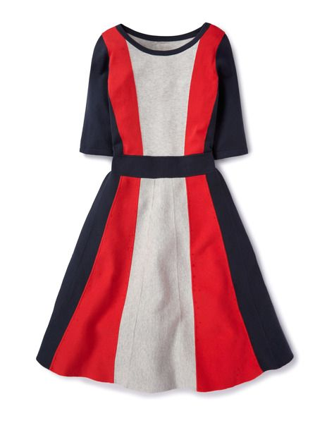 "Boden: the Milano Dress lives for another season! This time in ""storm/soft red/silver mélange,"" $198, a cotton, viscose, and nylon blend."