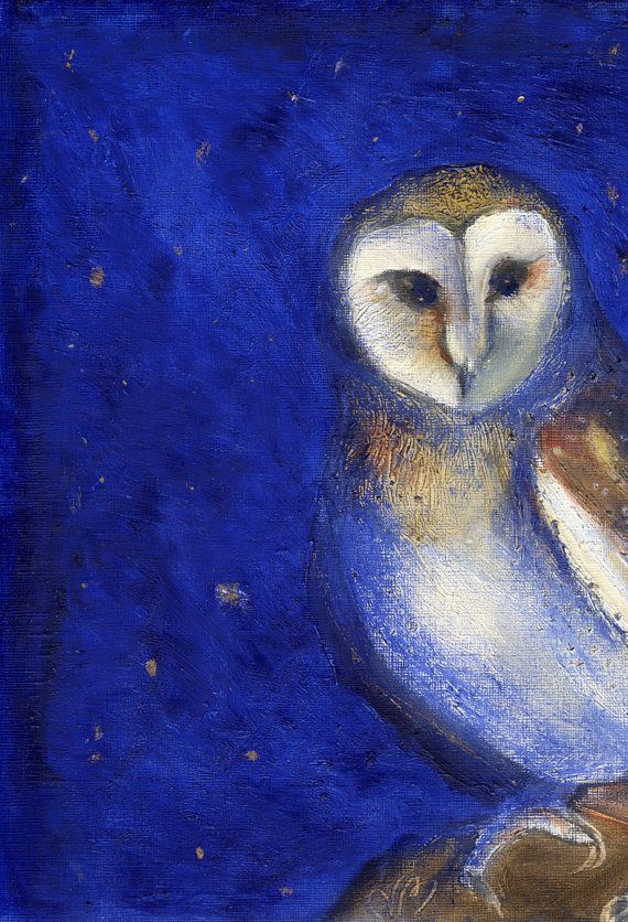 Magical Night Owl Painting by PillowsAway on Etsy
