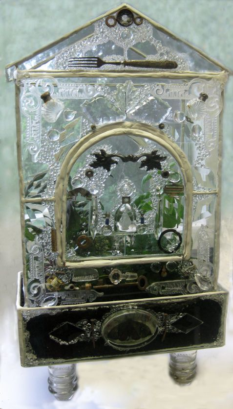 Remnants Of Olde Herb Terrarium   Poured Resin On Plain Glass With Clear  Objects Embedded?