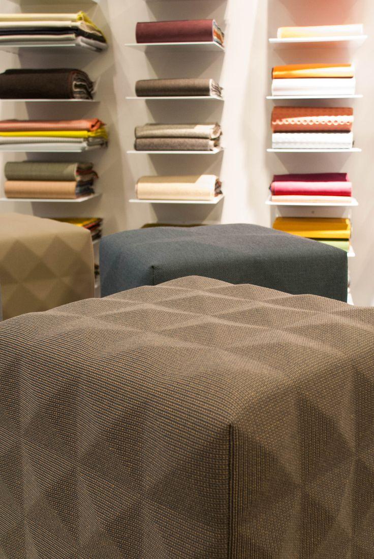 The foam fabrics hockers in the showroom of kvadrat amsterdam