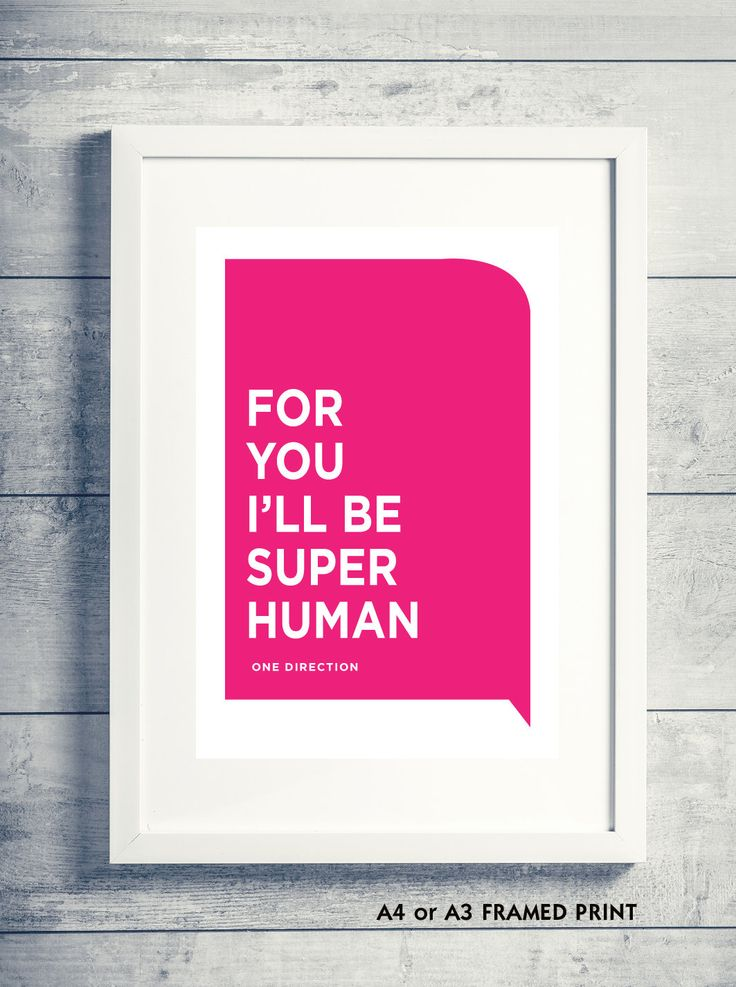 framed or unframed A4/A3 print -  ONE DIRECTION LYRICS 'Superhuman' wall art, low postage costs! by PewterGraphics on Etsy