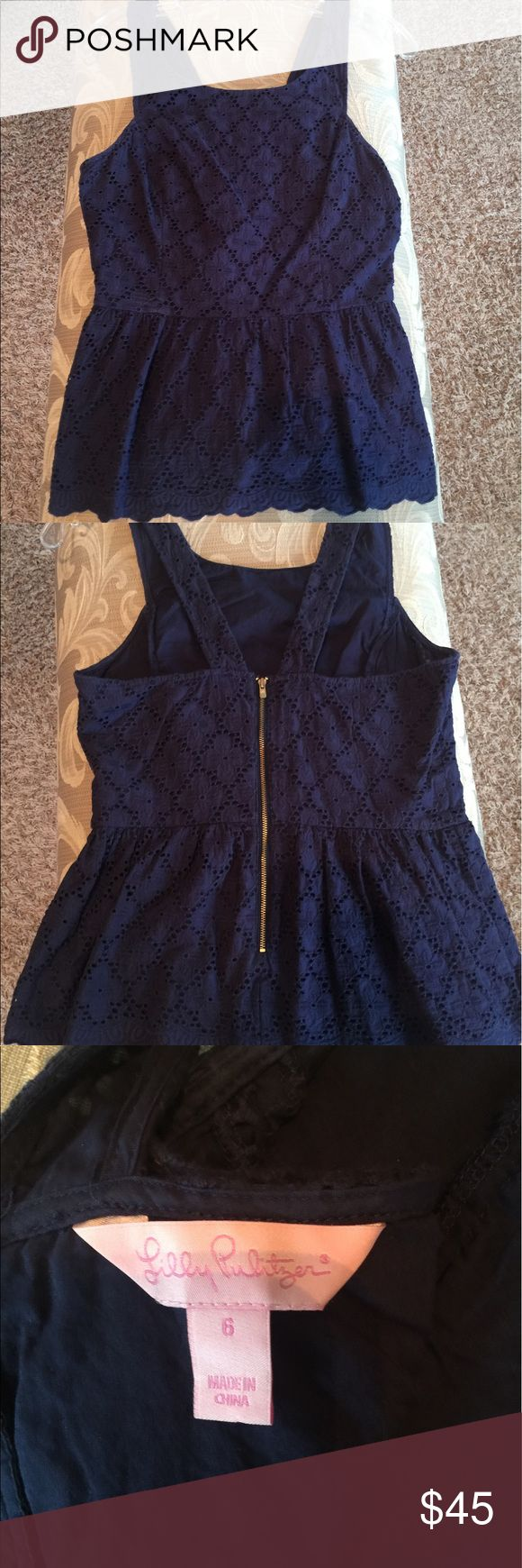 Lilly Pulitzer Navy blue lace peplum top Lilly Pulitzer navy lace peplum top size 6 non smoking home Lilly Pulitzer Tops Tank Tops