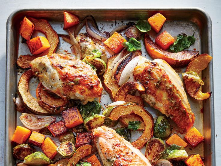 We give the large bone-in breasts a head start in the oven so they will be perfectly cooked by the time the vegetables are done. This cut is also rather juicy; you'll want to drain off the liquid from the pan before adding the vegetables so they can caramelize evenly. Brussels sprouts, butternut squash, and acorn squash are at their absolute best when roasted. The trick is to cut them into even pieces with a maximum surface area (halves or cubes) so they can benefit from all the direct…