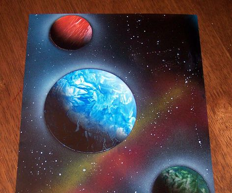 Xploration Earth  Planet Spray Paint Art