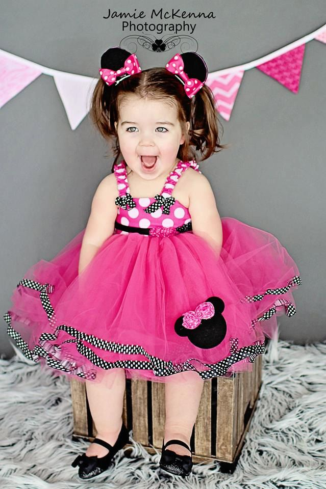 Hot Pink Minnie Mouse Tutu Dress In Black and White by SCbydesign, $74.99