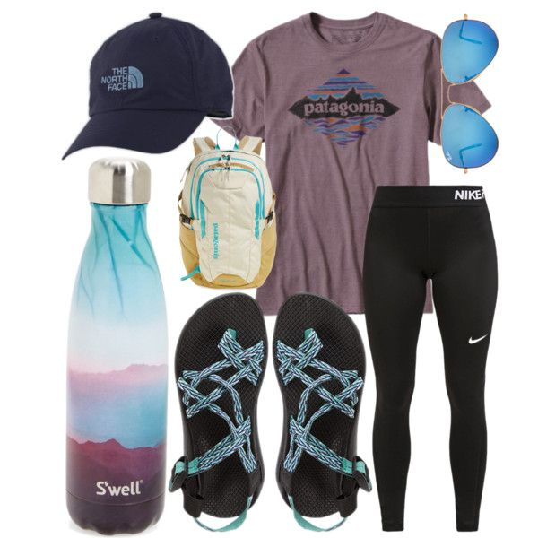 I want to go hiking! by jadenriley21 on Polyvore featuring NIKE, Chaco, Patagonia, The North Face, Ray-Ban and S'well
