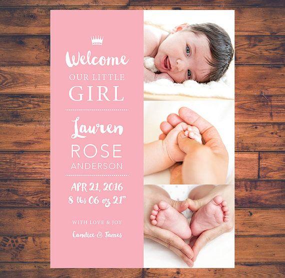 Aankondiging nieuwe Baby Pasgeboren Baby meisje Baby Boy Twins moderne Keepsake babyfoto kaarten briefkaart digitale afdrukbare BA006