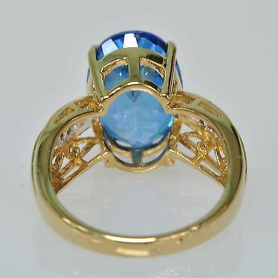 Ladies-10k-Yellow-Gold-Oval-London-Blue-Topaz-amp-Diamond-Cocktail-Estate-Ring