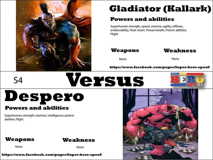 Two warriors of another planet will clash in an epic battle where only one will be left standing... Gladiator vs Despero! WHO WILL WIN, and why? Powers, abilities, weaknesses, and weapons are posted.