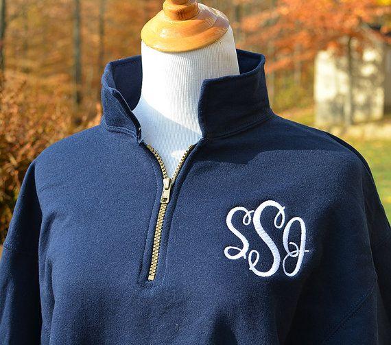 Monogram Sweatshirt Zip Pullover Half Zip Shirt by KNKMonograms