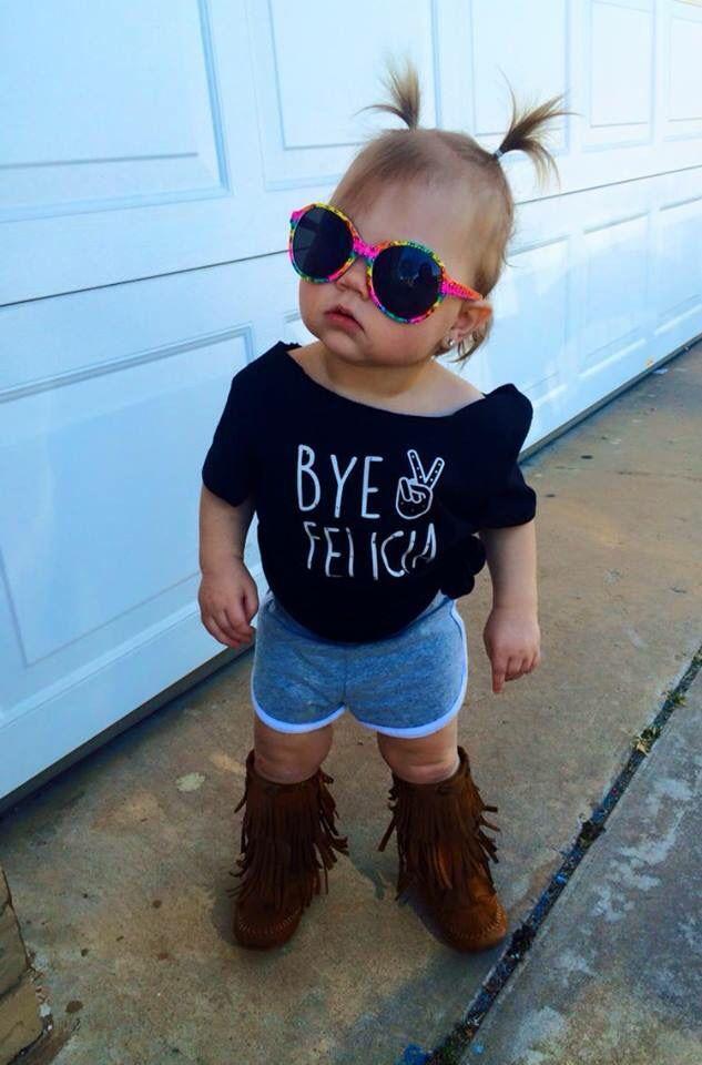 Bye Felicia toddler girl girly fringe boots baby style peace sunglasses