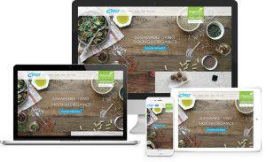 Ceres Organics wordpress website shown responding to 4 different screen sizes…