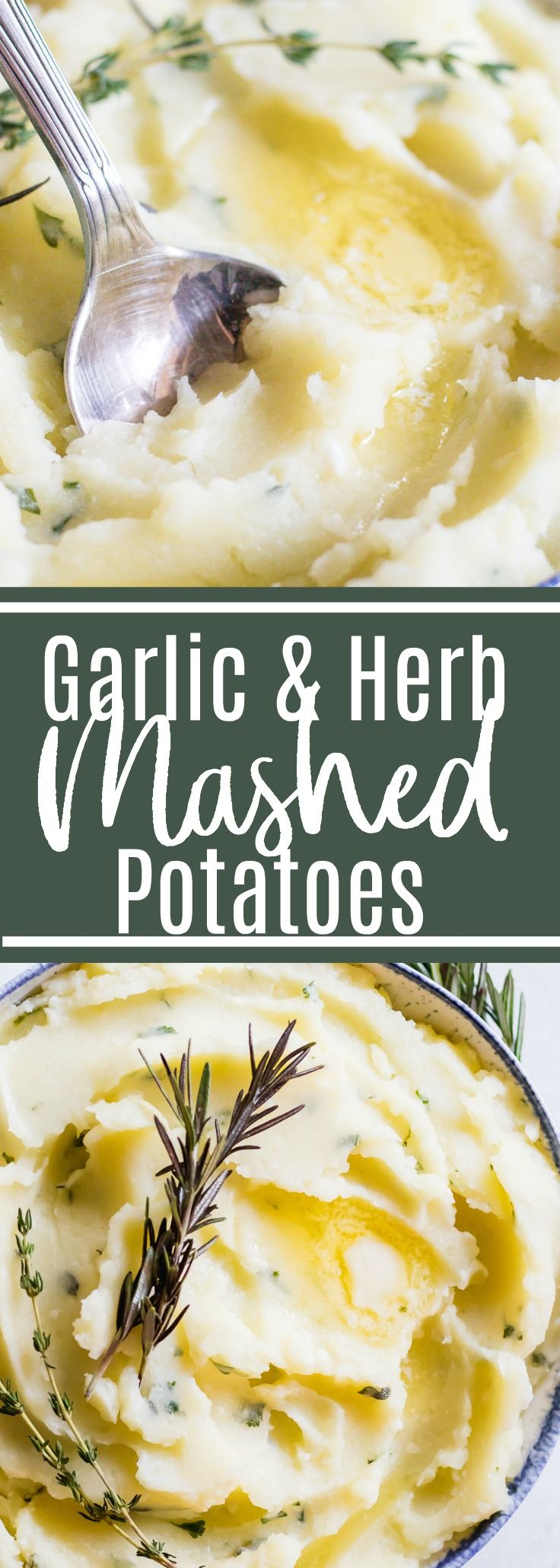 Garlic Herb Mashed Potatoes. The creamiest mashed potato loaded up with garlic and herbs in every bite! Perfect side dish for any meal.#thanksgiving #potatoes #sidedish
