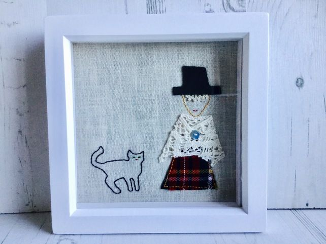 Welsh lady with little cat picture £18.00