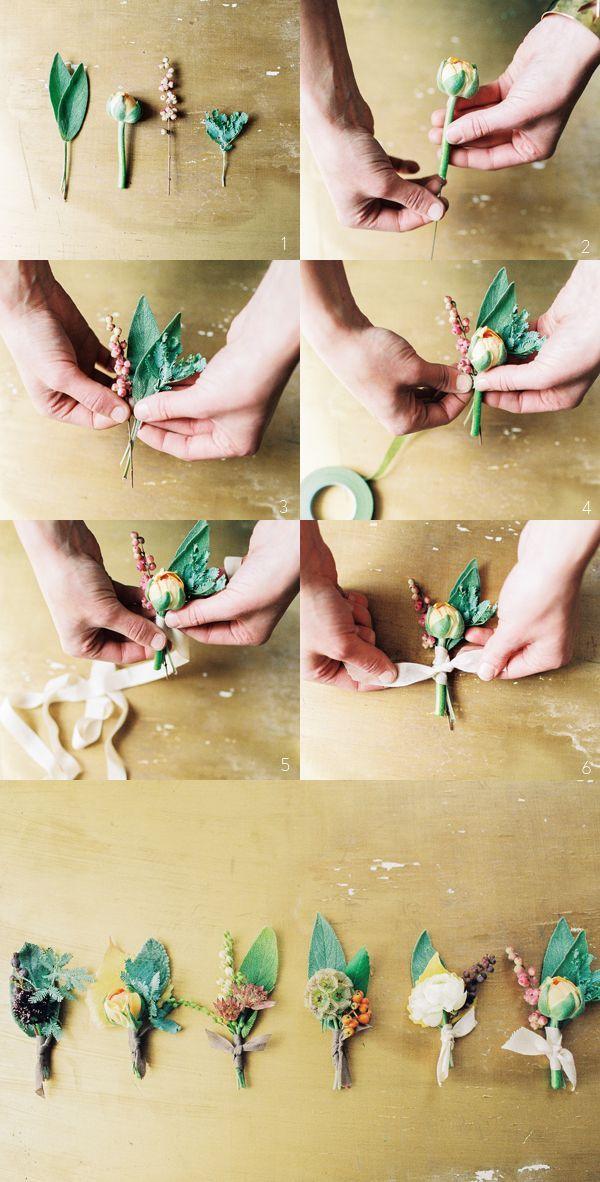 「YES」の返事に♡プロポーズにもらったお花で作る新郎のブートニアが可愛い*にて紹介している画像