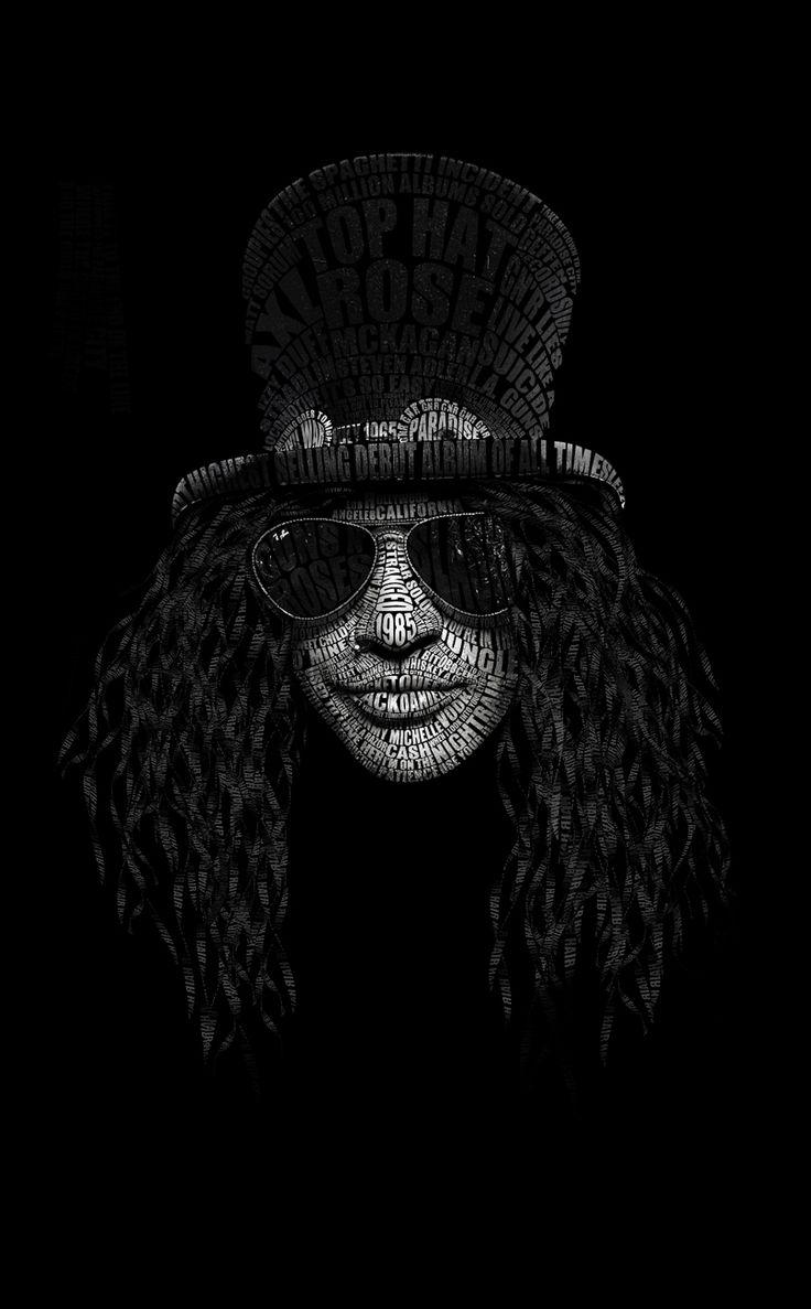 Typography Portrait of Slash. Made with Photoshop and Maya.