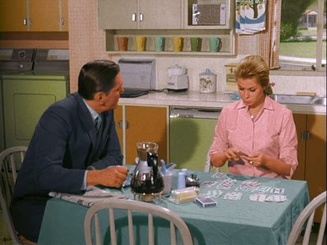 """Samantha had not only a fabulous 1960s kitchen, but also impeccable taste in coffee mugs. Swoon. Still from """"Bewitched."""""""