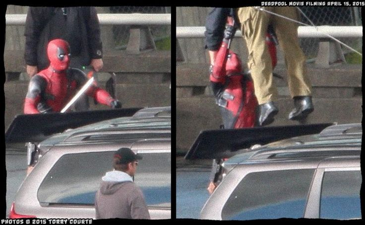 Deadpool set - filming stunt.