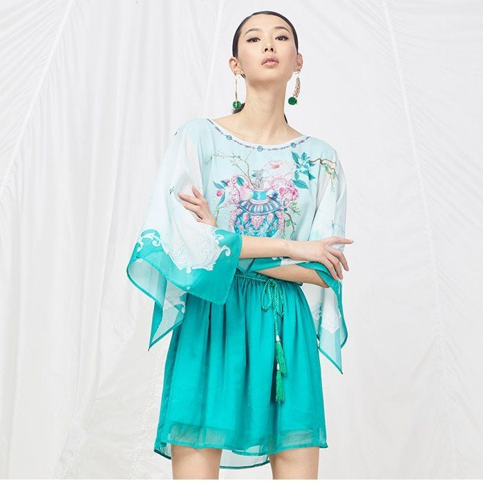 YSMX Elastic Waist Sea Green Summer Dress