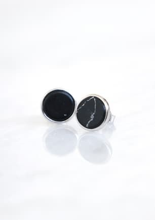 Onyx Round Stone Earring - SILVER