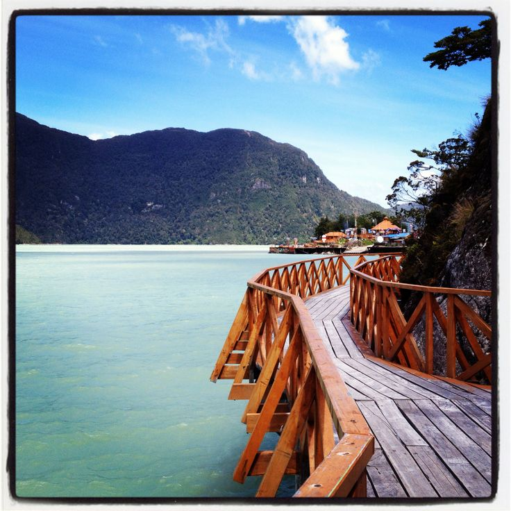 Caleta Tortel walkways in the Patagonia region of Chile