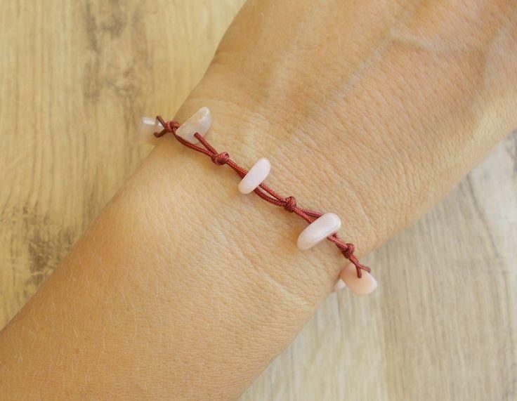 Rose bracelet, anklet, Gemstone chips, Tie knot closure, Gypsy, Sea, Surfer…