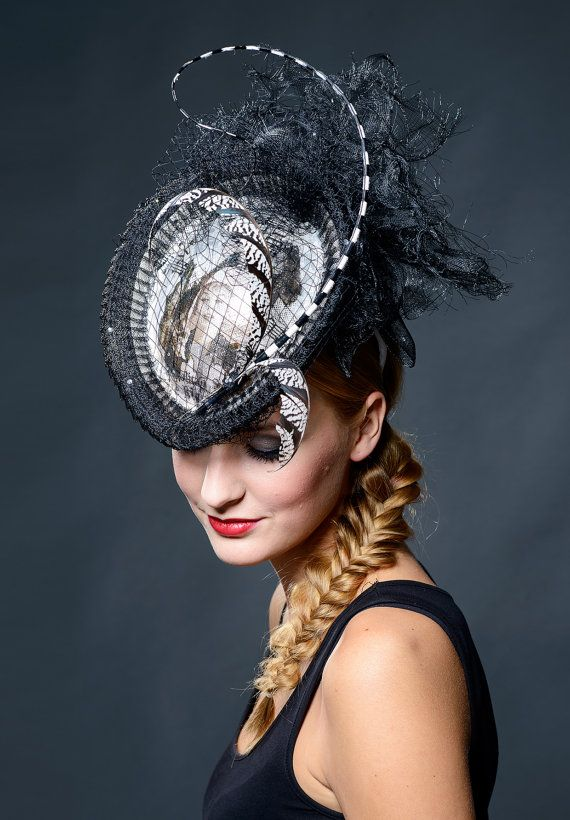 Black and white modern victorian style hat for high fashion loving lady - Ultra extravagant HAT-ART hat in my 2016 collection
