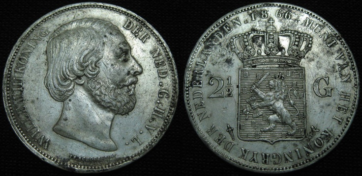 Netherlands 2.5 Gulden Willem III 1866