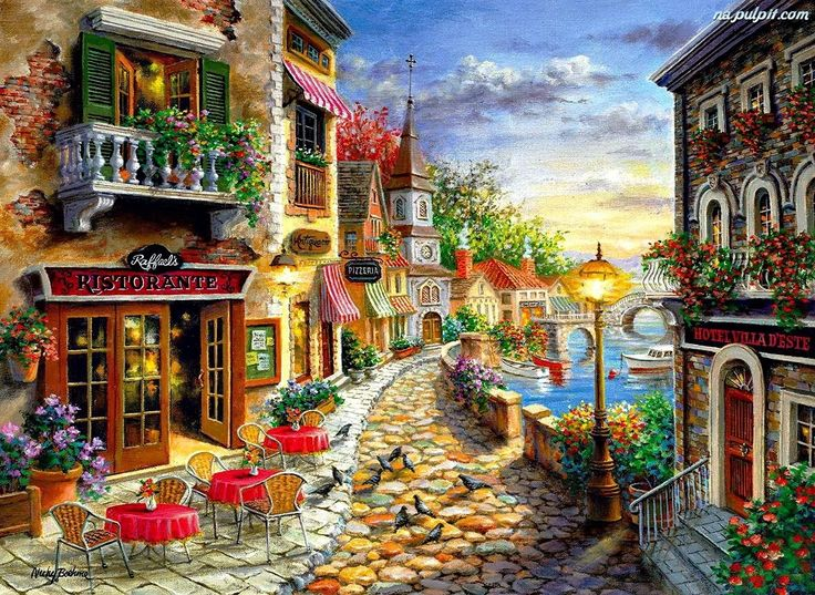 Invitation to Dine by Nicky Boehme ~ outdoor bistro