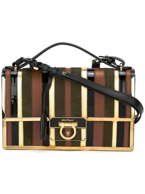 SALVATORE FERRAGAMO panelled stripe shoulder bag. #salvatoreferragamo #bags #shoulder bags #hand bags #