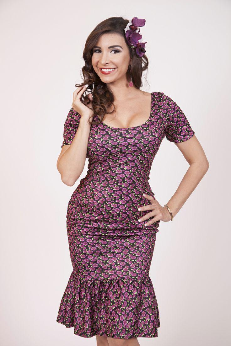 Bettie Page Clothing wiggle dress with trumpet hem, $78. I LOVE the shape. The print makes me sad.