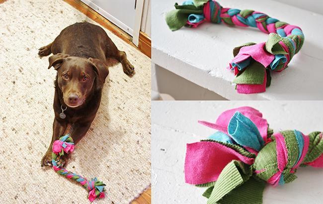 jouet pour chien en t-shirt recyclés