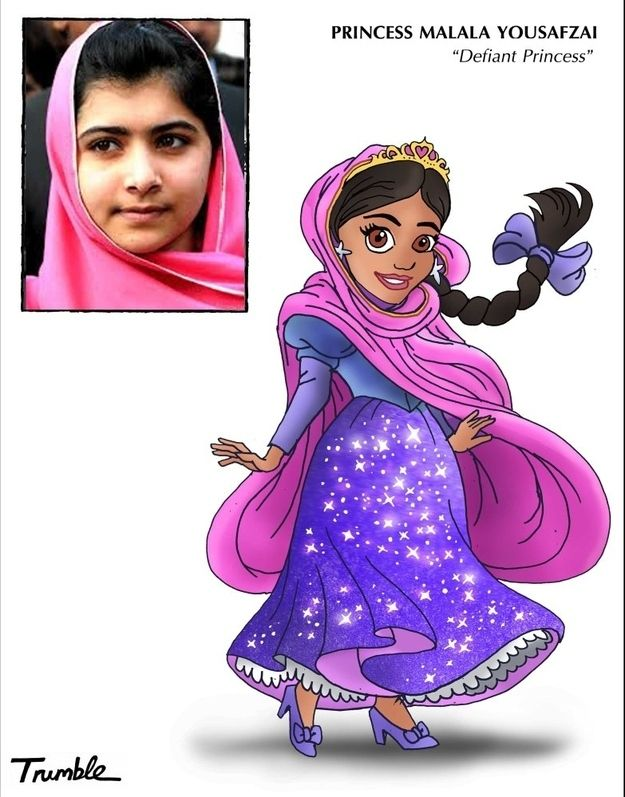 Malala Yousafzai / If Rosa Parks And Hillary Clinton Were Disney Princesses via Artist David Trumble (via BuzzFeed)