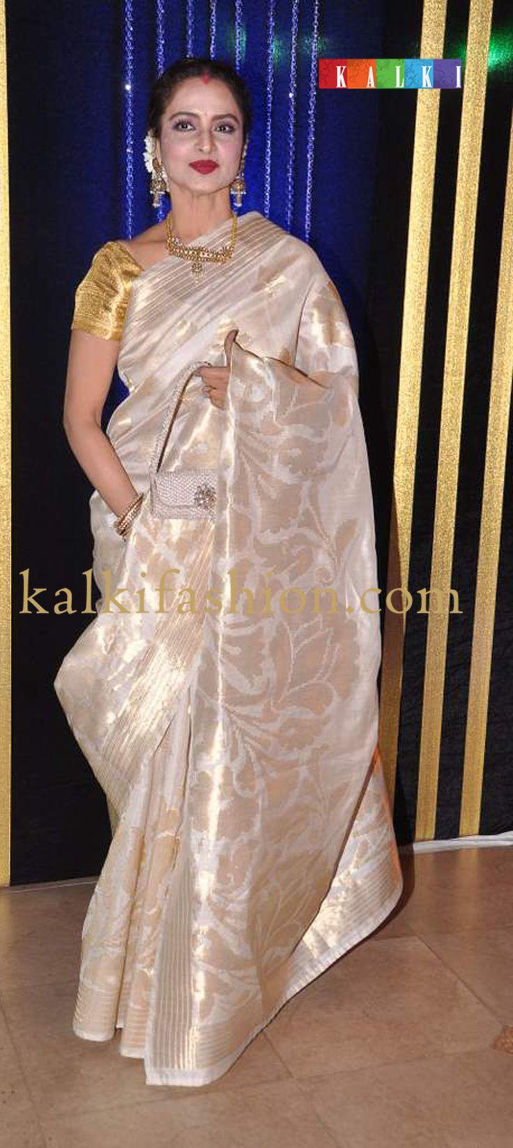 http://www.kalkifashion.com/    Rekha in her signature kanjiviram saree in cream for Rakesh Roshan birthday bash