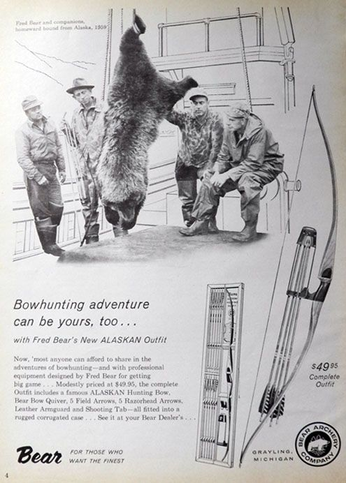 1960 Bear Archery Bowhunting Ad ~ Fred Bear Photo