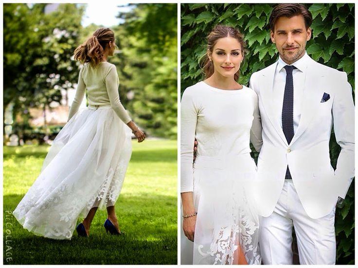 Anche la fashion blogger Olivia Palermo ha optato per gambe scoperte (shorts bianchi) e gonna di tulle. Ma aver accompagnato l'outfit (è proprio il caso di dirlo) con un maglioncino color crema e scarpe blu elettrico come il fazzoletto e la cravatta del marito modello Johannes Huebl, la rendono senz'altro la sposa più anti convenzionale dell'anno, ma non per questo poco elegante. Loro sì che fanno parte del fashion system e si vede. Insieme erano perfetti. Candidi.