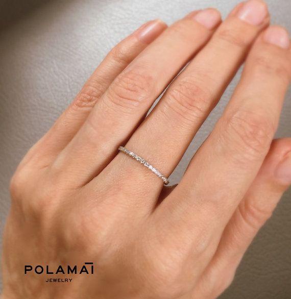 White Gold Diamond Eternity Ring 1.2mm 18k . Micro Pave Eternity Ring . Full Eternity . Wedding Band . Thin Diamond Ring. Diamond Stacking  The timeles,