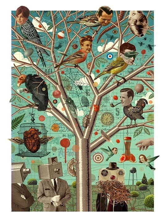 The Tree - Michael Waraksa: Art Illustrations, Michael Waraksa, Art Iicollag, Art Journals, Collage Artists, Mixed Media, Trees, Art Inspirt, Birds