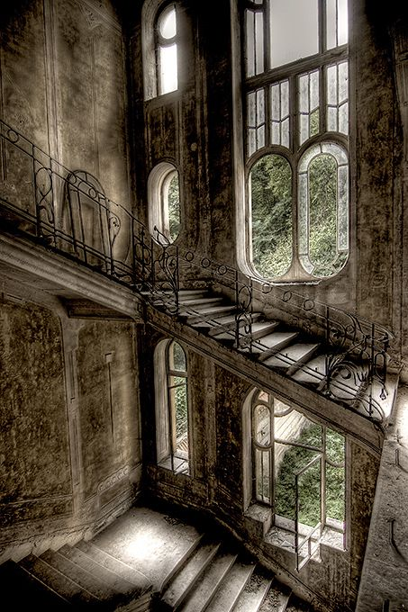 Abandoned house in France: Stairs, Window, Abandoned Beauty, Houses In France, Beautiful, Staircase, Abandoned Buildings, Abandoned Houses, Abandoned Places