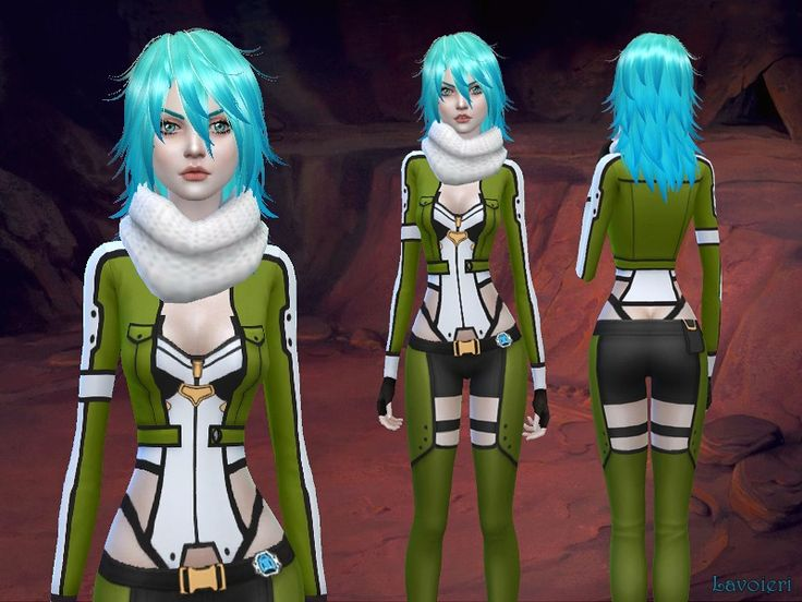Sims 4 Anime Characters Mod : Sinon outfit from sword art online found in tsr category