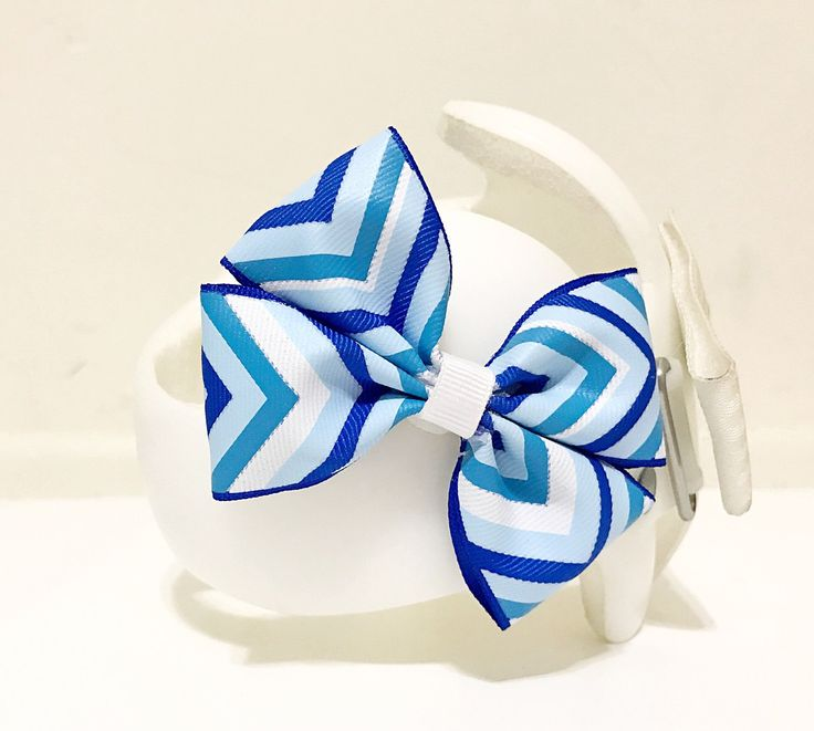 Cranial Band Bows, Cranial Helmet Bow Blue Chevron, Blue Chevron Bow, Cranial Band Bow Blue Chevron Bow by SunshineandBling on Etsy