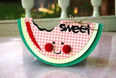 I tried to make a watermelon card once and it DID NOT look like this! So cute!