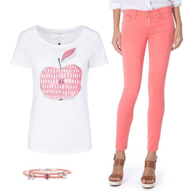 Видеть вас в розовом цвете вам помогут не столько очки, сколько эти джинсы 7 For All Mankind из тончайшего летнего денима и футболка Armedangels с вкусным принтом. Загляните к нам в JiST, побалуйте себя яркими обновками теперь со скидками до 50% 😉 #summer #fashion #outfitidea: #stylish #Armedangels #tshirt with #cute #print & #trendy #pink #7ForAllMankind #jeans create #chic #outfit  #мода #стиль #тренды #футболка #модно #стильно #киев #распродажа #скидка