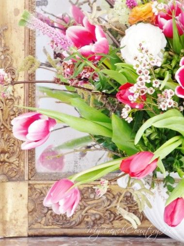 brightening up the winter gloom with pink tulips - Sharon Santoni, My French Country Home